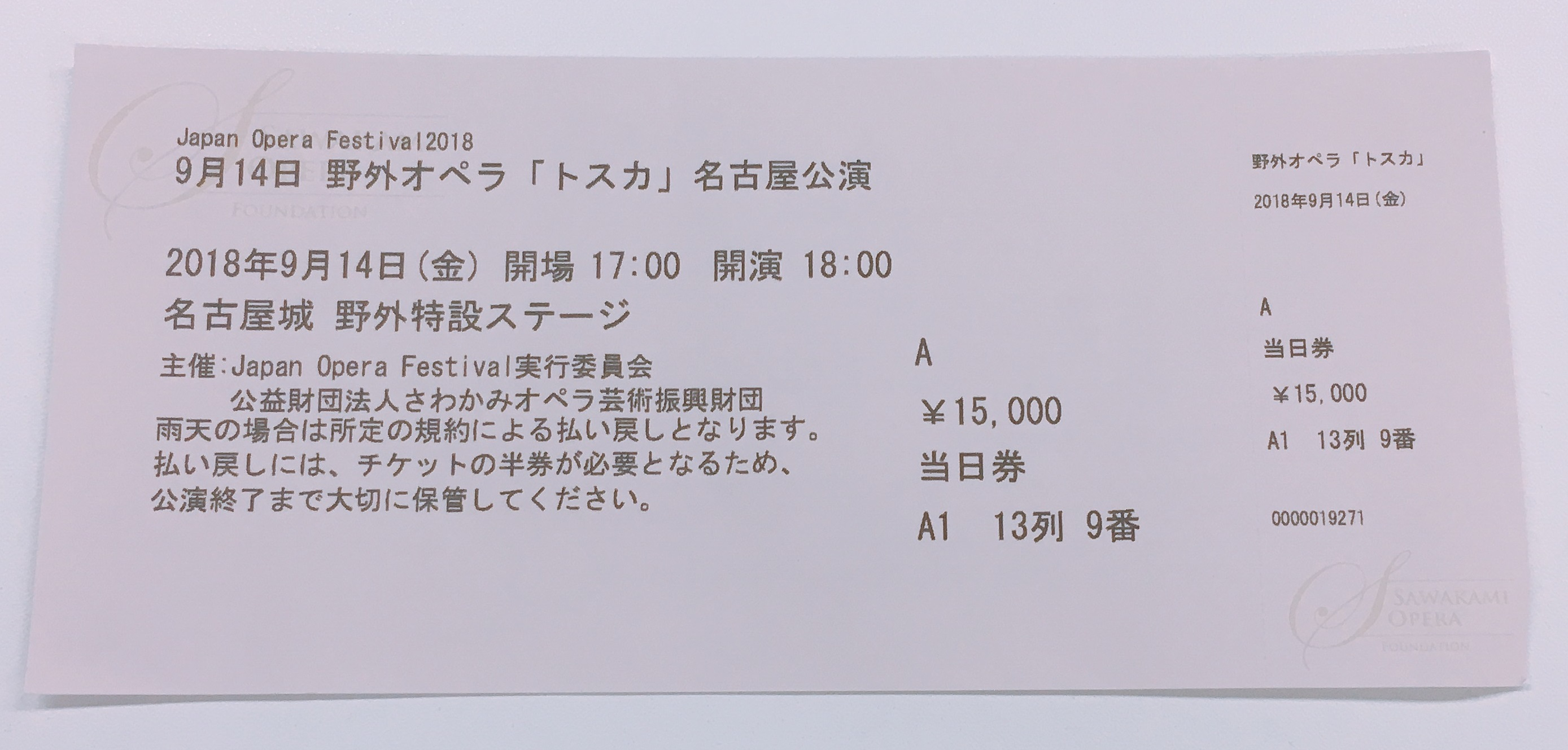 さわかみオペラ財団のチケット
